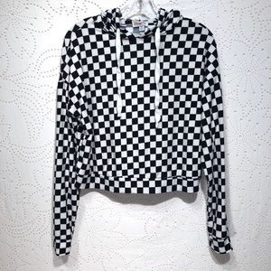 Orange Kiss Cropped Checkerboard Pullover Hoodie